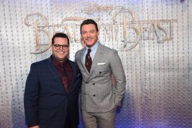 "Josh Gad and Luke Evans arrives for the world premiere of Disney's live-action ""Beauty and the Beast"" at the El Capitan Theatre in Hollywood as the cast and filmmakers continue their worldwide publicity tour. (Photo: Alex J. Berliner/ABImages)"