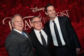 "David Hoberman, Bill Condon, Todd Lieberman pose together during the world premiere of Disney's live-action ""Beauty and the Beast"" at the El Capitan Theatre in Hollywood as the cast and filmmakers continue their worldwide publicity tour. (Photo: Alex J. Berliner/ABImages)"