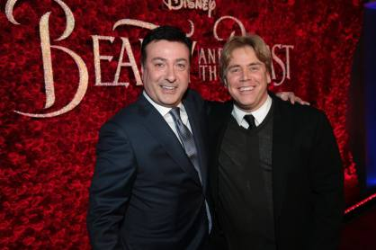 "Evan Spiliotopoulos and Stephen Chobosky arrive for the world premiere of Disney's live-action ""Beauty and the Beast"" at the El Capitan Theatre in Hollywood as the cast and filmmakers continue their worldwide publicity tour. (Photo: Alex J. Berliner/ABImages)"