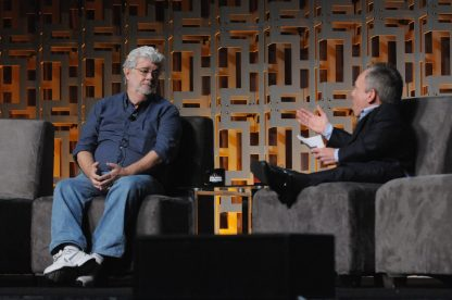 ORLANDO, FL - APRIL 13: George Lucas and Warwick Davis attend the 40 YEARS OF STAR WARS PANEL during the 2017 STAR WARS CELEBRATION at Orange County Convention Center on April 13, 2017 in Orlando, Florida. (Photo by Gerardo Mora/Getty Images for Disney) *** Local Caption *** George Lucas, Warwick Davis