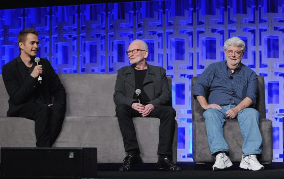 ORLANDO, FL - APRIL 13: Hayden Christensen, Ian McDiarmid and George Lucas attend the 40 YEARS OF STAR WARS PANEL during the 2017 STAR WARS CELEBRATION at Orange County Convention Center on April 13, 2017 in Orlando, Florida. (Photo by Gerardo Mora/Getty Images for Disney) *** Local Caption *** Hayden Christensen, Ian McDiarmid, George Lucas