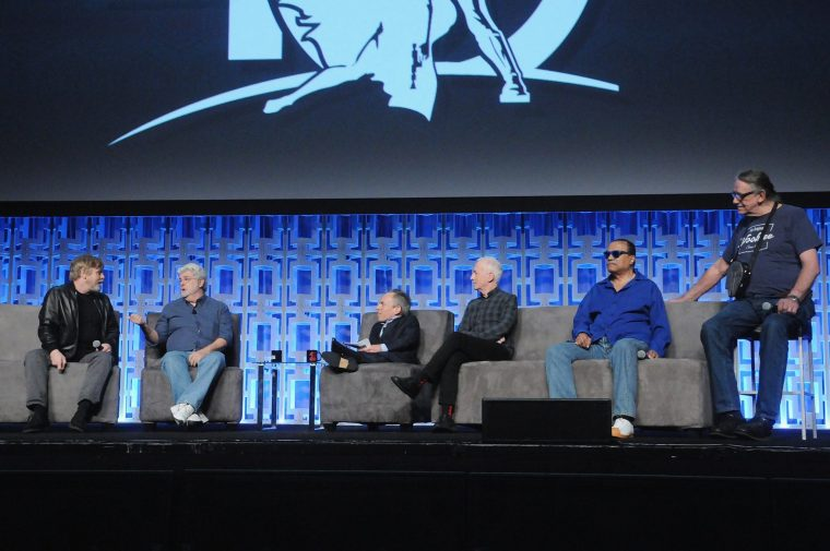 ORLANDO, FL - APRIL 13: Mark Hamill, George Lucas, Warwick Davis, Anthony Daniels, Billy Dee Williams and Peter Mayhew attend the 40 YEARS OF STAR WARS PANEL during the 2017 STAR WARS CELEBRATION at Orange County Convention Center on April 13, 2017 in Orlando, Florida. (Photo by Gerardo Mora/Getty Images for Disney) *** Local Caption *** Mark Hamill;George Lucas;Warwick Davis;Anthony Daniels;Billy Dee Williams;Peter Mayhew