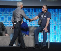 ORLANDO, FL - APRIL 13: Harrison Ford and Peter Mayhew attend the 40 YEARS OF STAR WARS PANEL during the 2017 STAR WARS CELEBRATION at Orange County Convention Center on April 13, 2017 in Orlando, Florida. (Photo by Gerardo Mora/Getty Images for Disney) *** Local Caption *** Harrison Ford;Peter Mayhew