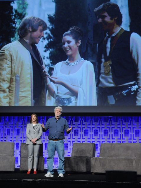 ORLANDO, FL - APRIL 13: Kathleen Kennedy and George Lucas attend the 40 YEARS OF STAR WARS PANEL during the 2017 STAR WARS CELEBRATION at Orange County Convention Center on April 13, 2017 in Orlando, Florida. (Photo by Gerardo Mora/Getty Images for Disney) *** Local Caption *** Kathleen Kennedy, George Lucas