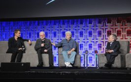 ORLANDO, FL - APRIL 13: Hayden Christensen, Ian McDiarmid, George Lucas, and Warwick Davis attend the 40 YEARS OF STAR WARS PANEL during the 2017 STAR WARS CELEBRATION at Orange County Convention Center on April 13, 2017 in Orlando, Florida. (Photo by Gerardo Mora/Getty Images for Disney) *** Local Caption *** Hayden Christensen, Ian McDiarmid, George Lucas;Warwick Davis