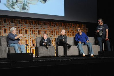 ORLANDO, FL - APRIL 13: George Lucas, Warwick Davis, Anthony Daniels, Billy Dee Williams and Peter Mayhew attend the 40 YEARS OF STAR WARS PANEL during the 2017 STAR WARS CELEBRATION at Orange County Convention Center on April 13, 2017 in Orlando, Florida. (Photo by Gerardo Mora/Getty Images for Disney) *** Local Caption *** George Lucas, Warwick Davis;Anthony Daniels;Billy Dee Williams, Peter Mayhew