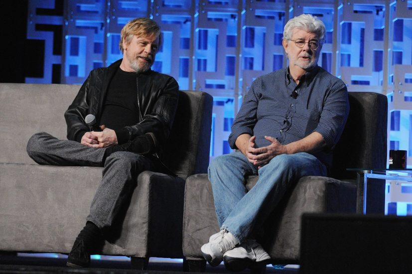 ORLANDO, FL - APRIL 13: Mar Hamill and George Lucas attend the 40 YEARS OF STAR WARS PANEL during the 2017 STAR WARS CELEBRATION at Orange County Convention Center on April 13, 2017 in Orlando, Florida. (Photo by Gerardo Mora/Getty Images for Disney) *** Local Caption *** Mark Hamill, George Lucas