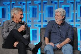 ORLANDO, FL - APRIL 13: Harrison Ford and George Lucas attend the 40 YEARS OF STAR WARS PANEL during the 2017 STAR WARS CELEBRATION at Orange County Convention Center on April 13, 2017 in Orlando, Florida. (Photo by Gerardo Mora/Getty Images for Disney) *** Local Caption *** Harrison Ford;George Lucas