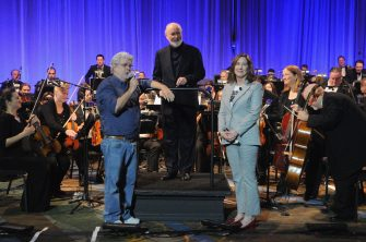 ORLANDO, FL - APRIL 13: George Lucas, John Williams and Kathleen Kennedy attend the 40 YEARS OF STAR WARS PANEL during the 2017 STAR WARS CELEBRATION at Orange County Convention Center on April 13, 2017 in Orlando, Florida. (Photo by Gerardo Mora/Getty Images for Disney) *** Local Caption *** George Lucas, John Williams, Kathleen Kennedy