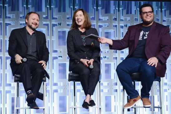ORLANDO, FL - APRIL 14: Rian Johnson, Kathleen Kennedy and Josh Gad attend the STAR WARS: THE LAST JEDI PANEL during the 2017 STAR WARS CELEBRATION at Orange County Convention Center on April 14, 2017 in Orlando, Florida. (Photo by Gerardo Mora/Getty Images for Disney) *** Local Caption *** Rian Johnson;Kathleen Kennedy;Josh Gad
