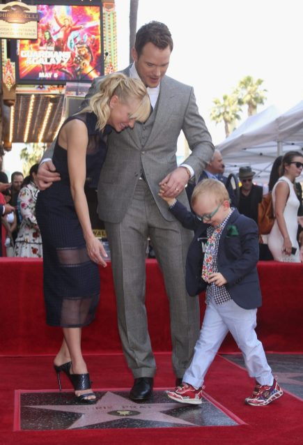 HOLLYWOOD, CA - APRIL 21: (L-R) Actors Anna Faris, Chris Pratt and Jack Pratt at the Chris Pratt Walk Of Fame Star Ceremony on April 21, 2017 in Hollywood, California. (Photo by Jesse Grant/Getty Images for Disney) *** Local Caption *** Anna Faris; Chris Pratt; Jack Pratt