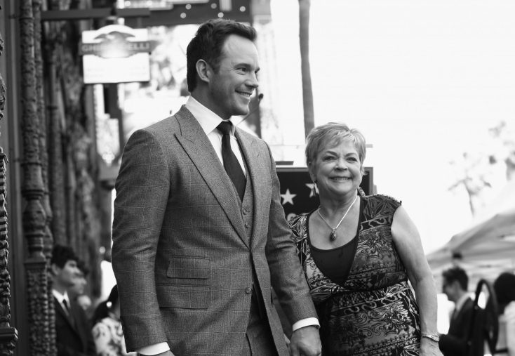 HOLLYWOOD, CA - APRIL 21: (EDITOR'S NOTE: Image has been shot in black and white.) Actor Chris Pratt (L) and Kathy Pratt at the Chris Pratt Walk Of Fame Star Ceremony on April 21, 2017 in Hollywood, California. (Photo by Jesse Grant/Getty Images for Disney) *** Local Caption *** Chris Pratt; Kathy Pratt