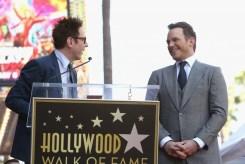 HOLLYWOOD, CA - APRIL 21: Writer/director James Gunn (L) and actor Chris Pratt at the Chris Pratt Walk Of Fame Star Ceremony on April 21, 2017 in Hollywood, California. (Photo by Jesse Grant/Getty Images for Disney) *** Local Caption *** James Gunn; Chris Pratt