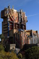 "Guardians of the Galaxy–Mission: BREAKOUT! (April 20, 2017) — The glimmering exterior of The Collector's imposing Fortress looms over the skyline at Disney California Adventure Park. The all-new attraction Guardians of the Galaxy–Mission: BREAKOUT! debuts May 27, 2017 at Disney California Adventure. Guardians of the Galaxy–Mission: BREAKOUT! will take guests through the fortress of The Collector, who is keeping his newest acquisitions, the Guardians of the Galaxy, as prisoners. Guests will board a gantry lift which launches them into a daring adventure as they join Rocket in an attempt to set free his fellow Guardians. The epic new adventure blasts guests straight into the ""Guardians of the Galaxy"" story for the first time, alongside characters from the blockbuster films and comics. As guests join Rocket in his attempt to bust his pals out of The Collector's Fortress, they will experience randomized ride experiences complete with new visual and audio effects and music inspired by the popular film soundtracks. (Richard Harbaugh/Disneyland Resort)"