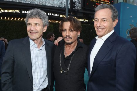"""HOLLYWOOD, CA - MAY 18: (L-R) Chairman, The Walt Disney Studios, Alan Horn, Actor Johnny Depp and The Walt Disney Company Chairman and CEO Bob Iger at the Premiere of Disney's and Jerry Bruckheimer Films' """"Pirates of the Caribbean: Dead Men Tell No Tales,"""" at the Dolby Theatre in Hollywood, CA with Johnny Depp as the one-and-only Captain Jack in a rollicking new tale of the high seas infused with the elements of fantasy, humor and action that have resulted in an international phenomenon for the past 13 years. May 18, 2017 in Hollywood, California. (Photo by Rich Polk/Getty Images for Disney) *** Local Caption *** Alan Horn; Johnny Depp; Bob Iger"""
