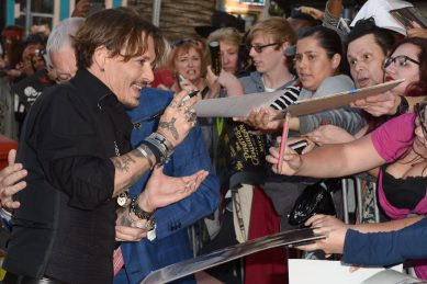 """HOLLYWOOD, CA - MAY 18: Actor Johnny Depp at the Premiere of Disney's and Jerry Bruckheimer Films' """"Pirates of the Caribbean: Dead Men Tell No Tales,"""" at the Dolby Theatre in Hollywood, CA with Johnny Depp as the one-and-only Captain Jack in a rollicking new tale of the high seas infused with the elements of fantasy, humor and action that have resulted in an international phenomenon for the past 13 years. May 18, 2017 in Hollywood, California. (Photo by Marc Flores/Getty Images for Disney) *** Local Caption *** Johnny Depp"""