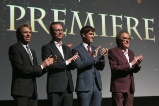 """HOLLYWOOD, CA - MAY 18: (L-R) Producer Jerry Bruckheimer, Director Espen Sandberg, actors Brenton Thwaites and Geoffrey Rush at the Premiere of Disney's and Jerry Bruckheimer Films' """"Pirates of the Caribbean: Dead Men Tell No Tales,"""" at the Dolby Theatre in Hollywood, CA with Johnny Depp as the one-and-only Captain Jack in a rollicking new tale of the high seas infused with the elements of fantasy, humor and action that have resulted in an international phenomenon for the past 13 years. May 18, 2017 in Hollywood, California. (Photo by Jesse Grant/Getty Images for Disney) *** Local Caption *** Jerry Bruckheimer; Espen Sandberg; Brenton Thwaites; Geoffrey Rush"""