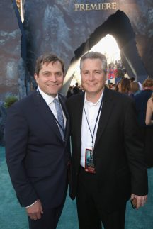 """HOLLYWOOD, CA - MAY 18: EVP Production, The Walt Disney Company, Sam Dickerman (L) and Screenwriter Jeff Nathanson at the Premiere of Disney's and Jerry Bruckheimer Films' """"Pirates of the Caribbean: Dead Men Tell No Tales,"""" at the Dolby Theatre in Hollywood, CA with Johnny Depp as the one-and-only Captain Jack in a rollicking new tale of the high seas infused with the elements of fantasy, humor and action that have resulted in an international phenomenon for the past 13 years. May 18, 2017 in Hollywood, California. (Photo by Jesse Grant/Getty Images for Disney) *** Local Caption *** Sam Dickerman; Jeff Nathanson"""
