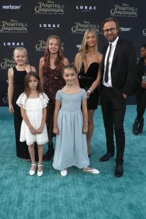 """HOLLYWOOD, CA - MAY 18: Director Joachim Ronning (R) and family at the Premiere of Disney's and Jerry Bruckheimer Films' """"Pirates of the Caribbean: Dead Men Tell No Tales,"""" at the Dolby Theatre in Hollywood, CA with Johnny Depp as the one-and-only Captain Jack in a rollicking new tale of the high seas infused with the elements of fantasy, humor and action that have resulted in an international phenomenon for the past 13 years. May 18, 2017 in Hollywood, California. (Photo by Rich Polk/Getty Images for Disney) *** Local Caption *** Joachim Ronning"""