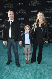 "HOLLYWOOD, CA - MAY 18: (L-R) Actor Thomas Lennon, Oliver Lennon and Jenny Robertson at the Premiere of Disney's and Jerry Bruckheimer Films' ""Pirates of the Caribbean: Dead Men Tell No Tales,"" at the Dolby Theatre in Hollywood, CA with Johnny Depp as the one-and-only Captain Jack in a rollicking new tale of the high seas infused with the elements of fantasy, humor and action that have resulted in an international phenomenon for the past 13 years. May 18, 2017 in Hollywood, California. (Photo by Rich Polk/Getty Images for Disney) *** Local Caption *** Thomas Lennon; Oliver Lennon; Jenny Robertson"