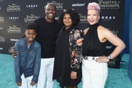 """HOLLYWOOD, CA - MAY 18: Actor Terry Crews (2ndL), Rebecca Crews (R) and family at the Premiere of Disney's and Jerry Bruckheimer Films' """"Pirates of the Caribbean: Dead Men Tell No Tales,"""" at the Dolby Theatre in Hollywood, CA with Johnny Depp as the one-and-only Captain Jack in a rollicking new tale of the high seas infused with the elements of fantasy, humor and action that have resulted in an international phenomenon for the past 13 years. May 18, 2017 in Hollywood, California. (Photo by Rich Polk/Getty Images for Disney) *** Local Caption *** Terry Crews; Rebecca Crews"""
