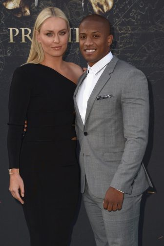 """HOLLYWOOD, CA - MAY 18: Alpine ski racer Lindsey Vonn (L) and Kenan Smith at the Premiere of Disney's and Jerry Bruckheimer Films' """"Pirates of the Caribbean: Dead Men Tell No Tales,"""" at the Dolby Theatre in Hollywood, CA with Johnny Depp as the one-and-only Captain Jack in a rollicking new tale of the high seas infused with the elements of fantasy, humor and action that have resulted in an international phenomenon for the past 13 years. May 18, 2017 in Hollywood, California. (Photo by Marc Flores/Getty Images for Disney) *** Local Caption *** Lindsey Vonn; Kenan Smith"""