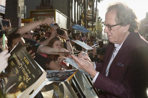 "HOLLYWOOD, CA - MAY 18: Actor Geoffrey Rush at the Premiere of Disney's and Jerry Bruckheimer Films' ""Pirates of the Caribbean: Dead Men Tell No Tales,"" at the Dolby Theatre in Hollywood, CA with Johnny Depp as the one-and-only Captain Jack in a rollicking new tale of the high seas infused with the elements of fantasy, humor and action that have resulted in an international phenomenon for the past 13 years. May 18, 2017 in Hollywood, California. (Photo by Marc Flores/Getty Images for Disney) *** Local Caption *** Geoffrey Rush"