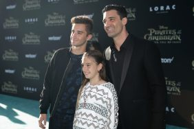 """HOLLYWOOD, CA - MAY 18: Actor Gilles Marini (R) and family at the Premiere of Disney's and Jerry Bruckheimer Films' """"Pirates of the Caribbean: Dead Men Tell No Tales,"""" at the Dolby Theatre in Hollywood, CA with Johnny Depp as the one-and-only Captain Jack in a rollicking new tale of the high seas infused with the elements of fantasy, humor and action that have resulted in an international phenomenon for the past 13 years. May 18, 2017 in Hollywood, California. (Photo by Rich Polk/Getty Images for Disney) *** Local Caption *** Gilles Marini"""