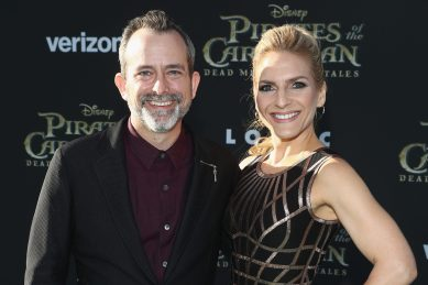 """HOLLYWOOD, CA - MAY 18: Composer Geoff Zanelli (L) and guest at the Premiere of Disney's and Jerry Bruckheimer Films' """"Pirates of the Caribbean: Dead Men Tell No Tales,"""" at the Dolby Theatre in Hollywood, CA with Johnny Depp as the one-and-only Captain Jack in a rollicking new tale of the high seas infused with the elements of fantasy, humor and action that have resulted in an international phenomenon for the past 13 years. May 18, 2017 in Hollywood, California. (Photo by Rich Polk/Getty Images for Disney) *** Local Caption *** Geoff Zanelli"""