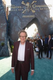 """HOLLYWOOD, CA - MAY 18: Actor Geoffrey Rush at the Premiere of Disney's and Jerry Bruckheimer Films' """"Pirates of the Caribbean: Dead Men Tell No Tales,"""" at the Dolby Theatre in Hollywood, CA with Johnny Depp as the one-and-only Captain Jack in a rollicking new tale of the high seas infused with the elements of fantasy, humor and action that have resulted in an international phenomenon for the past 13 years. May 18, 2017 in Hollywood, California. (Photo by Jesse Grant/Getty Images for Disney) *** Local Caption *** Geoffrey Rush"""