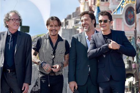 PARIS, FRANCE - MAY 14: Geoffrey Rush, Johnny Depp, Javier Bardem and Orlando Bloom attend the European Premiere to celebrate the release of Disney's 'Pirates of the Caribbean: Salazar's Revenge' at Disneyland Paris on May 14, 2017 in Paris, France. (Photo by Kristy Sparow/Getty Images for Disney) *** Local Caption *** Geoffrey Rush; Johnny Depp; Javier Bardem; Orlando Bloom