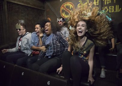 "Guardians of the Galaxy–Mission: BREAKOUT! — Guests freefall aboard a gantry lift in the rocking attraction Guardians of the Galaxy – Mission: BREAKOUT! as they join Rocket in an attempt to set free his fellow Guardians. The epic new adventure blasts guests straight into the ""Guardians of the Galaxy"" story for the first time, alongside characters from the blockbuster films and comics. As guests join Rocket in his attempt to bust his pals out of The Collector's Fortress, they will experience randomized ride experiences complete with new visual and audio effects and music inspired by the popular film soundtracks. (Scott Brinegar/Disneyland Resort)"