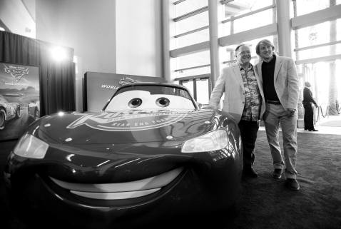 """ANAHEIM, CA - JUNE 10: (EDITORS NOTE: Image has been shot in black and white) Executive producer John Lasseter (L) and Owen Wilson at the World Premiere of Disney/Pixarís ìCars 3"""" at the Anaheim Convention Center on June 10, 2017 in Anaheim, California. (Photo by Charley Gallay/Getty Images for Disney) *** Local Caption *** John Lasseter;Owen Wilson"""