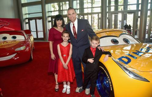 """ANAHEIM, CA - JUNE 10: Pixar's Jay Ward (C) and family at the World Premiere of Disney/Pixarís ìCars 3"""" at the Anaheim Convention Center on June 10, 2017 in Anaheim, California. (Photo by Alberto E. Rodriguez/Getty Images for Disney) *** Local Caption *** Jay Ward"""