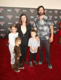 "ANAHEIM, CA - JUNE 10: Director Kat Coiro (C), actor Rhys Coiro (R) and guests pose at the World Premiere of Disney/Pixarís ìCars 3"" at the Anaheim Convention Center on June 10, 2017 in Anaheim, California. (Photo by Jesse Grant/Getty Images for Disney) *** Local Caption *** Kat Coiro;Rhys Coiro"