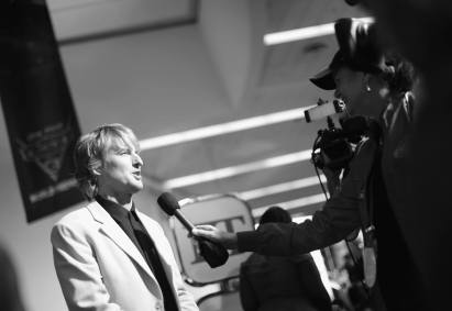 "ANAHEIM, CA - JUNE 10: (EDITORS NOTE: Image has been shot in black and white) Actor Owen Wilson at the World Premiere of Disney/Pixarís ìCars 3"" at the Anaheim Convention Center on June 10, 2017 in Anaheim, California. (Photo by Charley Gallay/Getty Images for Disney) *** Local Caption *** Owen Wilson"