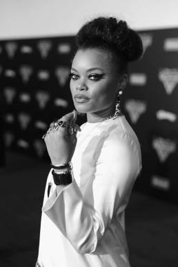 "ANAHEIM, CA - JUNE 10: (EDITORS NOTE: Image has been shot in black and white. Color version not available.) Recording artist Andra Day poses at the World Premiere of Disney/Pixarís ìCars 3"" at the Anaheim Convention Center on June 10, 2017 in Anaheim, California. (Photo by Charley Gallay/Getty Images for Disney) *** Local Caption *** Andra Day"