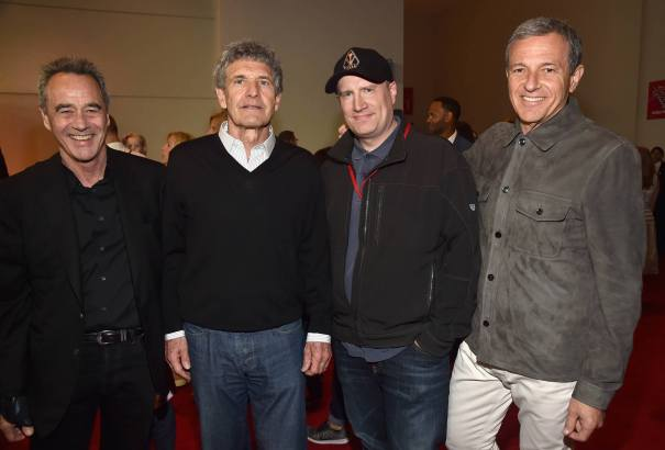 """ANAHEIM, CA - JUNE 10: (L-R) General Manager of Pixar Jim Morris, Chairman, The Walt Disney Studios, Alan Horn, President of Marvel Studios Kevin Feige and The Walt Disney Company Chairman and CEO Bob Iger at the World Premiere of Disney/Pixarís ìCars 3"""" at the Anaheim Convention Center on June 10, 2017 in Anaheim, California. (Photo by Alberto E. Rodriguez/Getty Images for Disney) *** Local Caption *** Jim Morris;Alan Horn;Kevin Feige;Bob Iger"""