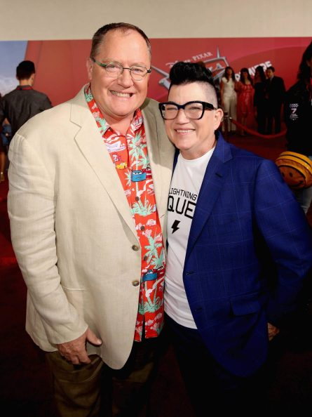 "ANAHEIM, CA - JUNE 10: Producer John Lasseter (L) and actor Lea DeLaria pose at the World Premiere of Disney/Pixarís ìCars 3"" at the Anaheim Convention Center on June 10, 2017 in Anaheim, California. (Photo by Jesse Grant/Getty Images for Disney) *** Local Caption *** John Lasseter;Lea DeLaria"