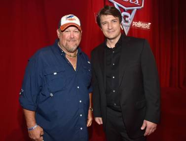 """ANAHEIM, CA - JUNE 10: Actors Larry the Cable Guy (L) and Nathan Fillion pose at the World Premiere of Disney/Pixarís ìCars 3"""" at the Anaheim Convention Center on June 10, 2017 in Anaheim, California. (Photo by Alberto E. Rodriguez/Getty Images for Disney) *** Local Caption *** Larry the Cable Guy;Nathan Fillion;Daniel Lawrence Whitney"""