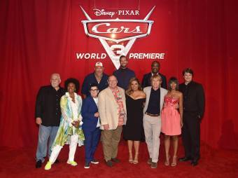 """ANAHEIM, CA - JUNE 10: (L-R top) Actors Larry the Cable Guy, Armie Hammer and Isiah Whitlock Jr. (L-R bottom) Actors John Ratzenberger, Jenifer Lewis, Lea DeLaria, executive producer John Lasseter, actors Cristela Alonzo, Owen Wilson, Kerry Washington and Nathan Fillion at the World Premiere of Disney/Pixarís ìCars 3"""" at the Anaheim Convention Center on June 10, 2017 in Anaheim, California. (Photo by Alberto E. Rodriguez/Getty Images for Disney) *** Local Caption *** Larry the Cable Guy;Armie Hammer;Isiah Whitlock Jr.;John Ratzenberger;Jenifer Lewis;Lea DeLaria;John Lasseter;Cristela Alonzo;Owen Wilson;Kerry Washington;Nathan Fillion"""