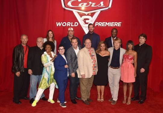 "ANAHEIM, CA - JUNE 10: (L-R top) Co-Producer Andrea Warren, actors Larry the Cable Guy, Armie Hammer and Isiah Whitlock Jr. (L-R bottom) Producer Kevin Reher, Actors John Ratzenberger, Jenifer Lewis, Lea DeLaria, Director Brian Fee, executive producer John Lasseter, actos Cristela Alonzo, Owen Wilson, Kerry Washington and Nathan Fillion at the World Premiere of Disney/Pixarís ìCars 3"" at the Anaheim Convention Center on June 10, 2017 in Anaheim, California. (Photo by Alberto E. Rodriguez/Getty Images for Disney) *** Local Caption *** Andrea Warren;Larry the Cable Guy;Armie Hammer;Isiah Whitlock Jr.;Kevin Reher;John Ratzenberger;Jenifer Lewis;Lea DeLaria;Brian Fee;John Lasseter;Cristela Alonzo;Owen Wilson;Kerry Washington;Nathan Fillion"
