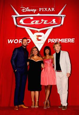 "ANAHEIM, CA - JUNE 10: (L-R) Actors Armie Hammer, Cristela Alonzo, Kerry Washington, and Owen Wilson pose at the World Premiere of Disney/Pixarís ìCars 3"" at the Anaheim Convention Center on June 10, 2017 in Anaheim, California. (Photo by Jesse Grant/Getty Images for Disney) *** Local Caption *** Armie Hammer;Cristela Alonzo;Kerry Washington"