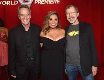 "ANAHEIM, CA - JUNE 10: (L-R) General Manager of Pixar Jim Morris, actor Cristela Alonzo and President of Pixar Edwin Catmul at the World Premiere of Disney/Pixarís ìCars 3"" at the Anaheim Convention Center on June 10, 2017 in Anaheim, California. (Photo by Alberto E. Rodriguez/Getty Images for Disney) *** Local Caption *** Jim Morris;Cristela Alonzo;Edwin Catmul"