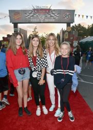ANAHEIM, CA - JUNE 10: Actress Denise Richards (2nd from R) and guests pose at the after party for the World Premiere of Disney/Pixarís ìCars 3î at Cars Land at Disney California Adventure in Anaheim, CA. (Photo by Alberto E. Rodriguez/Getty Images for Disney) *** Local Caption *** Denise Richards