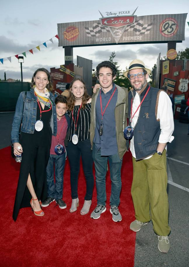 ANAHEIM, CA - JUNE 10: Composer Michael Giacchino (R) and guests pose at the after party for the World Premiere of Disney/Pixarís ìCars 3î at Cars Land at Disney California Adventure in Anaheim, CA. (Photo by Alberto E. Rodriguez/Getty Images for Disney) *** Local Caption *** Michael Giacchino