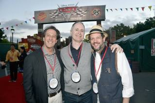 ANAHEIM, CA - JUNE 10: (L-R) President of Disney Animation Andrew Millstein, Music Supervisor of Pixar Animation Tom MacDougall and composer Michael Giacchino at the after party for the World Premiere of Disney/Pixarís ìCars 3î at Cars Land at Disney California Adventure in Anaheim, CA. (Photo by Alberto E. Rodriguez/Getty Images for Disney) *** Local Caption *** Andrew Millstein;Tom MacDougall;Michael Giacchino