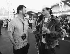 ANAHEIM, CA - JUNE 10: (EDITORS NOTE: Image has been shot in black and white. Color version not available.) TV personality Jimmy Kimmel (L) and actor Johnny Knoxville pose attend the after party for the World Premiere of Disney/Pixarís ìCars 3î at Cars Land at Disney California Adventure in Anaheim, CA. (Photo by Charley Gallay/Getty Images for Disney) *** Local Caption *** Johnny Knoxville;Jimmy Kimmel