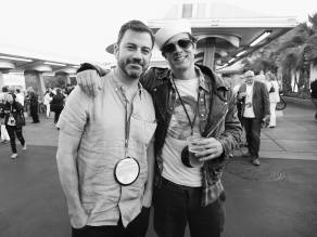 ANAHEIM, CA - JUNE 10: (EDITORS NOTE: Image has been shot in black and white. Color version not available.) TV personality Jimmy Kimmel (L) and actor Johnny Knoxville pose at the after party for the World Premiere of Disney/Pixarís ìCars 3î at Cars Land at Disney California Adventure in Anaheim, CA. (Photo by Charley Gallay/Getty Images for Disney) *** Local Caption *** Johnny Knoxville;Jimmy Kimmel