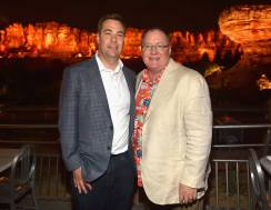 ANAHEIM, CA - JUNE 10: Director Brian Fee (L) and executive producer John Lasseter pose at the after party for the World Premiere of Disney/Pixarís ìCars 3î at Cars Land at Disney California Adventure in Anaheim, CA. (Photo by Alberto E. Rodriguez/Getty Images for Disney) *** Local Caption *** Brian Fee;John Lasseter